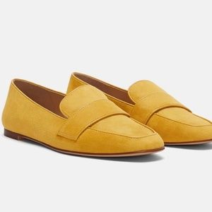 ZARA Mustard Yellow Faux Suede Loafers Size 9